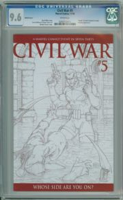 Civil War #5 Michael Turner Retail Sketch Variant 1:75 CGC 9.6 Captain America 3 Movie Marvel comic book